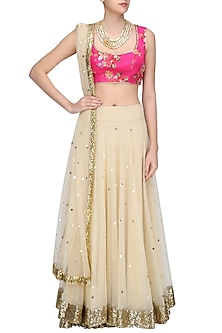 Beige Lehenga Skirt and Pink Floral Work Blouse Set by Seema Khan