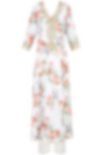 White Floral Printed Kurta Set With Straight Pants by Seema Khan