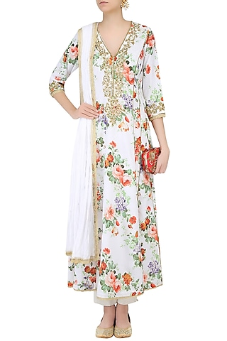 White Floral Printed Kurta Set With Straight Pants by Seema Khan