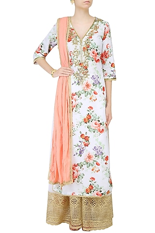 White Floral Printed Straight Kurta Set With Sharara Pants by Seema Khan