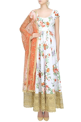 White Floral Printed Flared Anarkali Set by Seema Khan