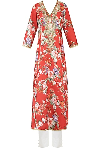Rust Color Floral Printed Kalidaar Kurta Set With Straight Pants by Seema Khan