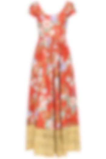 Rust Color Floral Printed Anarkali Set by Seema Khan
