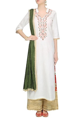 White Floral Embroidered Straight Kurta Set With Floral Broad Pants by Seema Khan