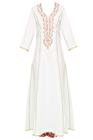 White Floral Embroidered Kalidaar Kurta Set With Straight Pants by Seema Khan