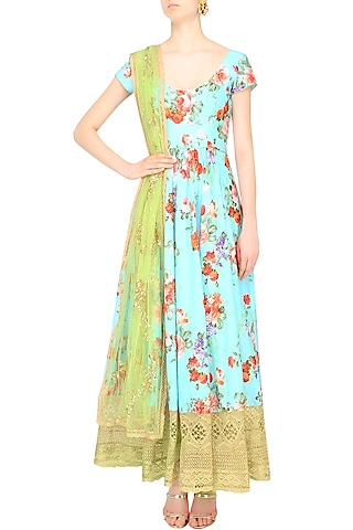 Blue Floral Printed Cutwork Anarkali Set by Seema Khan