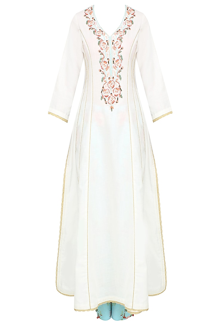 White Rosette Embroidered Kalidaar Kurta With Floral Pants by Seema Khan