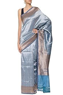 Midnight Blue Handwoven Banarsi Saree Set by Shivangi Kasliwaal