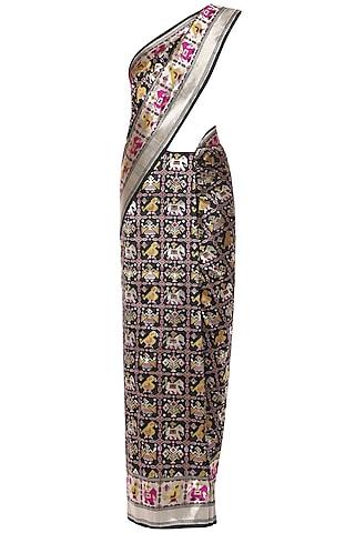 Black Handwoven Banarsi Cutwork Saree Set by Shivangi Kasliwaal