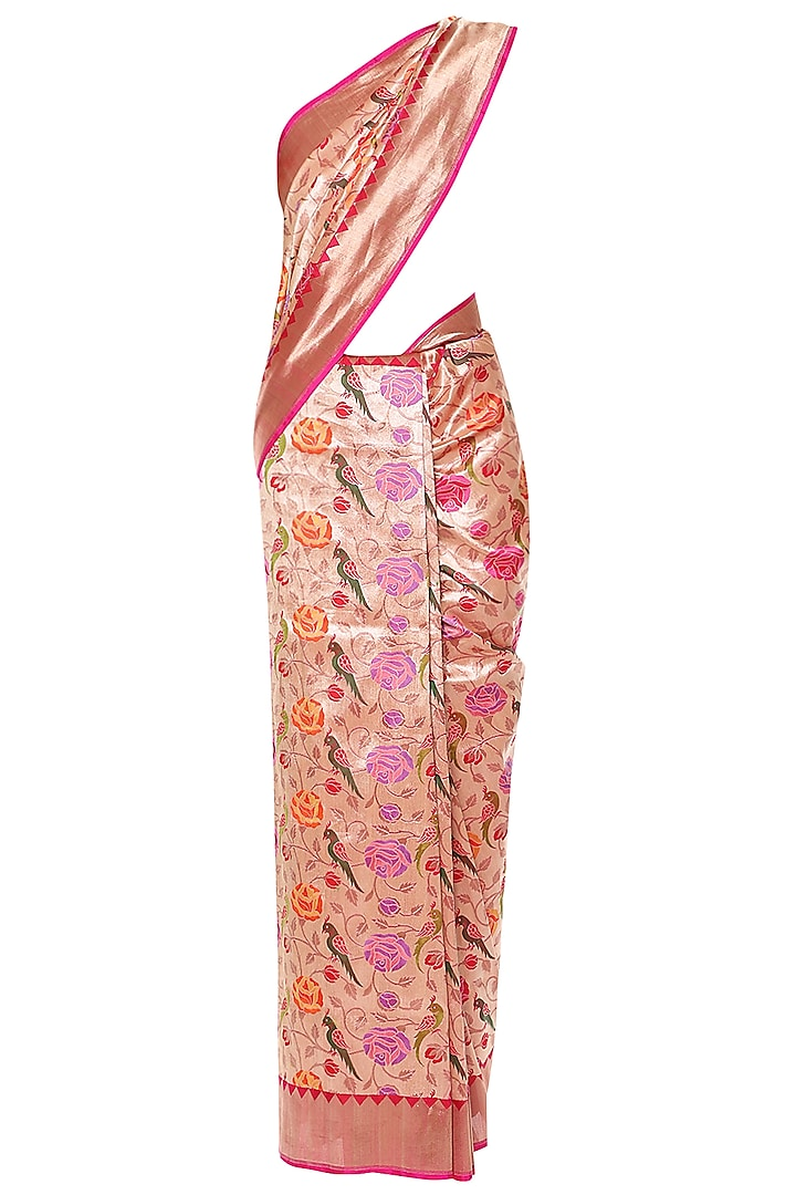 Gold Handwoven Kadhua Banarsi Saree Set by Shivangi Kasliwaal
