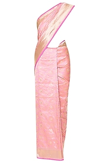 Baby Pink Handwoven Banarsi Saree Set by Shivangi Kasliwaal