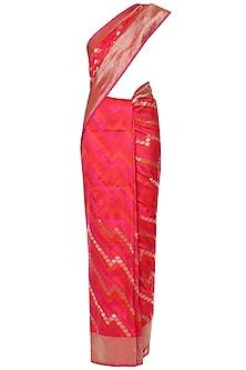 Hot Pink Hadwoven Kadhua Banarsi Saree Set by Shivangi Kasliwaal