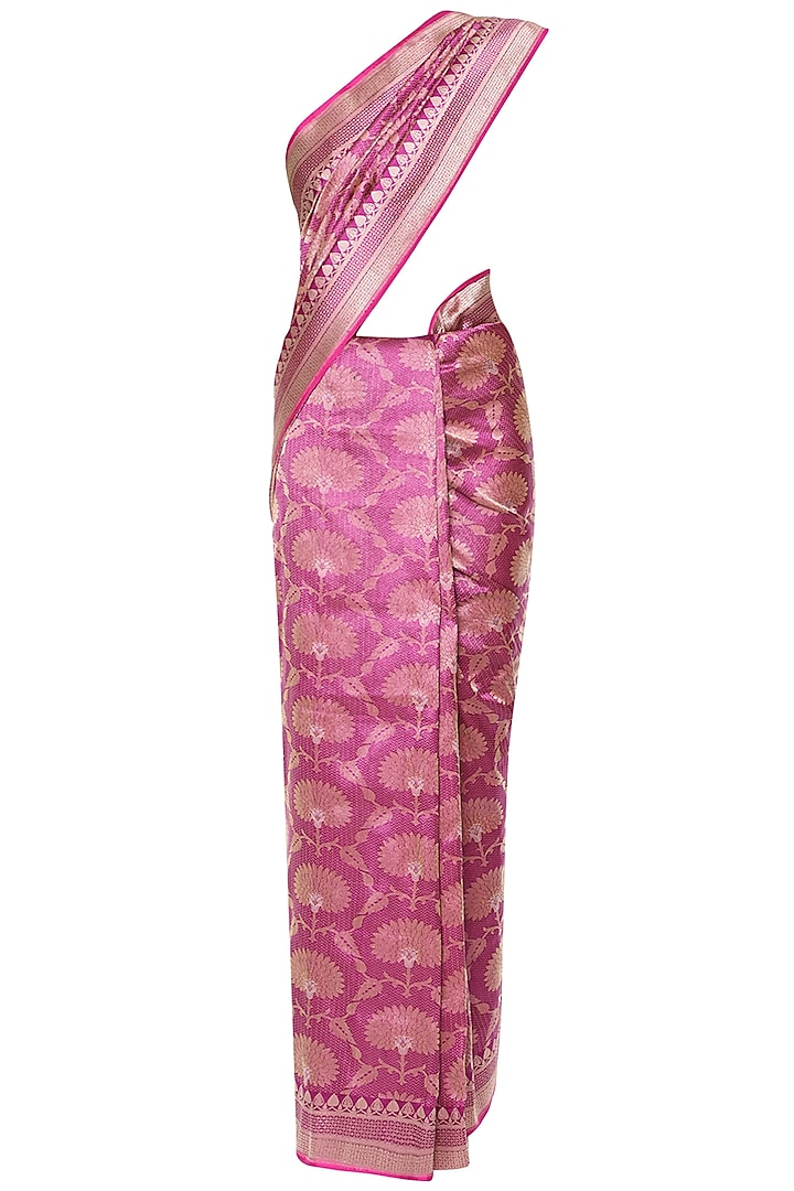 Magenta Pink Handwoven Banarsi Saree Set by Shivangi Kasliwaal
