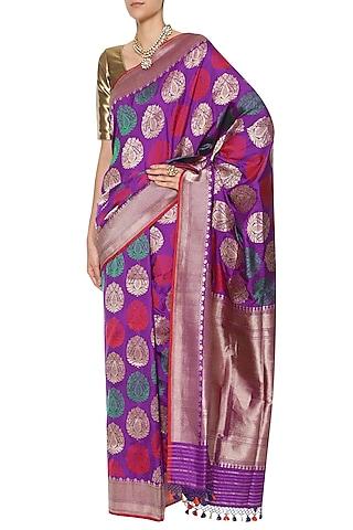Purple Handwoven Kadhua Banarsi Saree Set by Shivangi Kasliwaal