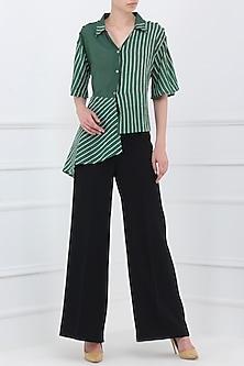 Green Block Printed Asymmetrical Shirt by Shikha Malik