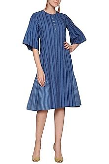Blue printed striped dress by SHIKHA MALIK