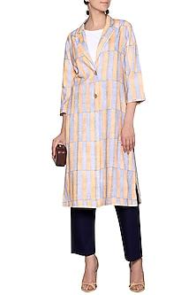 White printed thick striped coat by SHIKHA MALIK