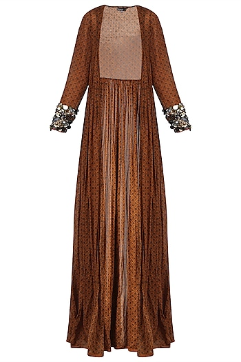 Brown Long Cape Jacket with Embroidered Cuffs by Saaksha & Kinni