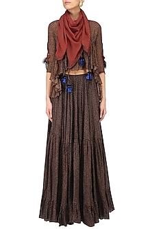 Light Brown Polka Print Top with Tier Gypy Skirt by Saaksha & Kinni