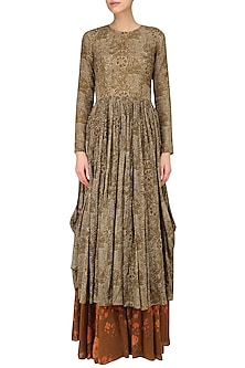 Brown Leaf Brint Anarkali and Floral Gypsy Skirt Set by Saaksha & Kinni