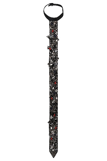 Black Zardozi Embroidered Long Tie by Saaksha & Kinni