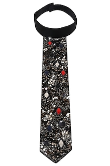 Black Zardozi Embroidered Tie by Saaksha & Kinni