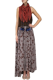 Light Grey and Mehandi Green Maxi Dress with Embroidered Scarf by Saaksha & Kinni