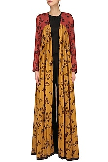 Mustard and Red Floral Print Floor Length Jacket by Saaksha & Kinni
