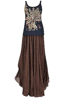 Blue Deer and Tree Zardosi Embroidered Tank Top with Brown Gypsy Skirt by Saaksha & Kinni