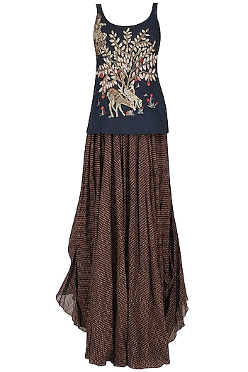 Blue Deer and Tree Zardosi Embroidered Tank Top with Brown Gypsy Skirt by Saaksha & Kinni