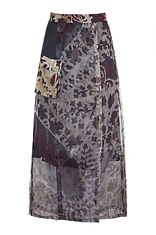 Grey & Lilac Printed Wrap Skirt by Saaksha & Kinni