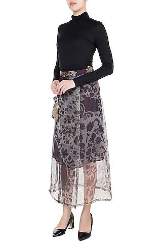 Grey & Lilac Printed Wrap Skirt by Saaksha & Kinni