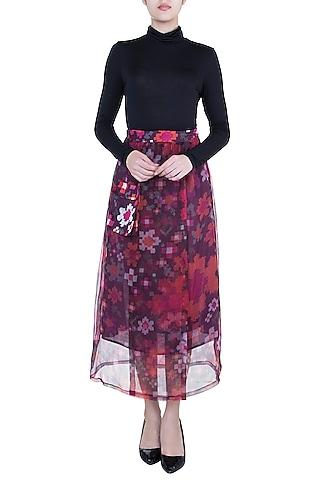 Multi Colored Printed Wrap Skirt by Saaksha & Kinni