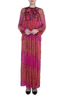 Pink Dual Printed Floral Leheriya Maxi Dress by Saaksha & Kinni