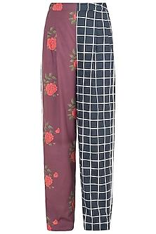 Black Dual Printed Floral & Checkered Trouser Pants by Saaksha & Kinni