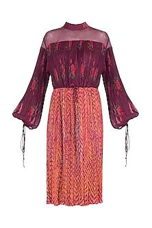 Burgundy Dual Print Leheriya Dress With Belt by Saaksha & Kinni