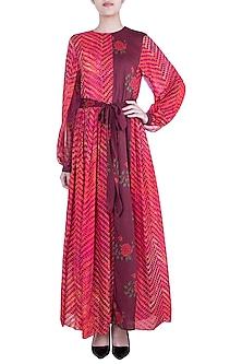 Pink Dual Printed Leheriya Maxi Dress With Belt by Saaksha & Kinni