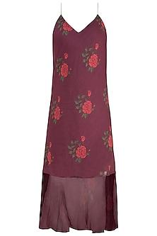 Burgundy Dual Rose Printed Leheriya Slip Dress by Saaksha & Kinni
