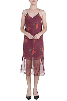 Burgundy Dual Rose Printed Leheriya Slip Dress by Saaksha & Kinni