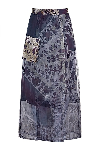Grey Printed Floral Sheer Wrap Skirt by Saaksha & Kinni