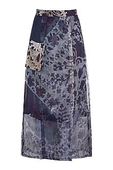 Grey Printed Floral Sheer Wrap Skirt by Saaksha & Kinni
