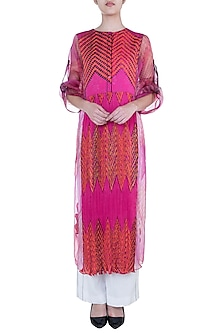 Pink Printed Leheriya Kurta With Inner by Saaksha & Kinni