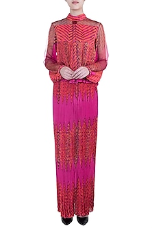 Pink Leheriya Printed Blouse by Saaksha & Kinni