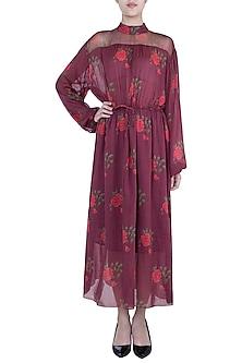 Burgundy Printed Maxi Dress With Belt by Saaksha & Kinni
