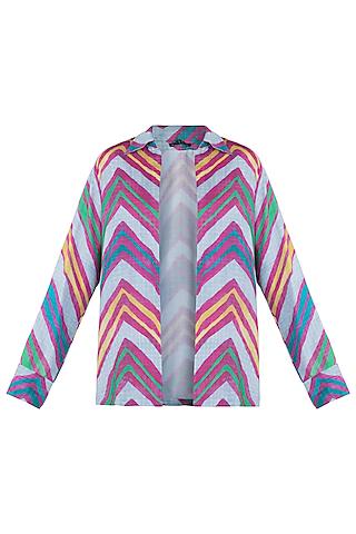 Grey Leheriya Printed Collared Shirt by Saaksha & Kinni