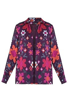 Multi Colored Floral Printed Collared Shirt by Saaksha & Kinni