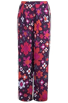 Multi Colored Abstract Floral Printed Trouser Pants by Saaksha & Kinni