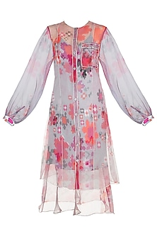 Light Pink Floral Printed Sheer Cape Dress by Saaksha & Kinni