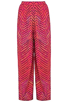 Pink Printed Leheriya Trouser Pants by Saaksha & Kinni