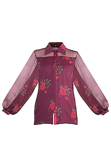 Burgundy Rose Printed Collared Blouse by Saaksha & Kinni
